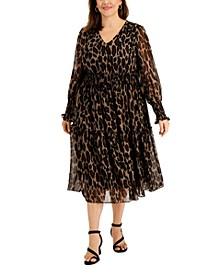 Plus Size Animal-Print Smocked-Chiffon A-Line Dress