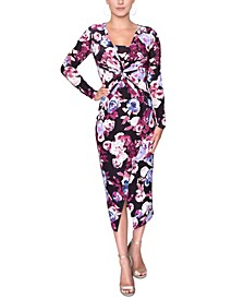 Cross-Front Printed Jersey Dress