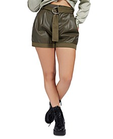 Lala Faux Leather Belted Shorts