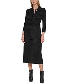 Collared Ribbed-Knit Sweater Dress