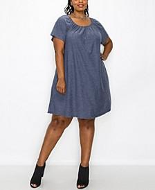 Plus Size Swiss Dot Short Sleeve Peasant Pocket Dress