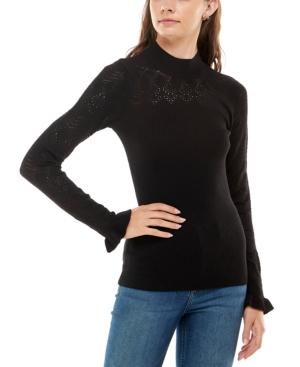 Juniors' Mock-Neck Pointelle Sweater