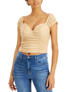 Juniors' Ruched-Front Sweetheart-Neck Top