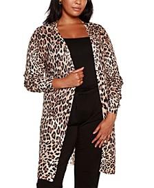 Black Label Plus Size Leopard Print Duster Cardigan