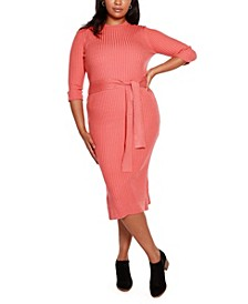Black Label Plus Size Sweater Dress with Embellished Waist Tie