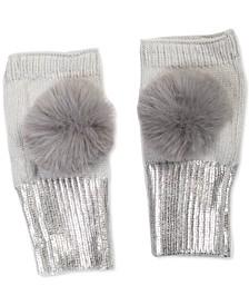 Pom-Pom-Trim Foiled Fingerless Gloves, Created for Macy's