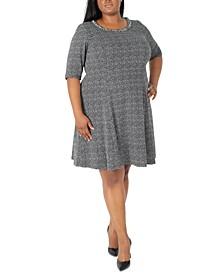 Plus Size Elbow-Sleeve Knit Dress
