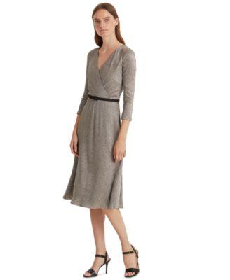 로렌 랄프로렌 Lauren Ralph Lauren Metallic Bodre Dress,Antique Bronze