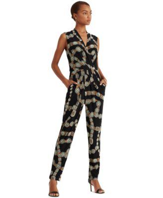 로렌 랄프로렌 Lauren Ralph Lauren Belt-Print Jersey Jumpsuit,Black/turquoise/multi