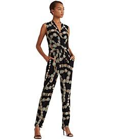 Belt-Print Jersey Jumpsuit