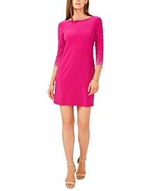 Embellished-Sleeve Sheath Dress
