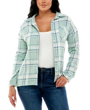 Juniors' Plaid Sherpa Lined Flannel Shirt
