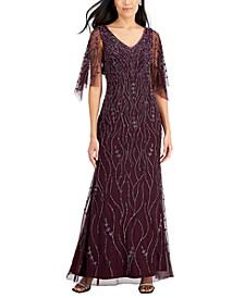 Beaded V-Neck Flutter-Sleeve Gown
