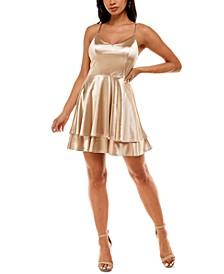 Juniors' Satin A-Line Dress