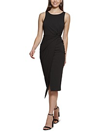 Twist-Front Scuba-Crepe Sheath Dress