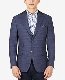 Men's Slim-Fit Wool Navy Houndstooth Sport Coat