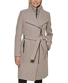 Faux-Leather Trim Belted Wrap Coat, Created for Macy's