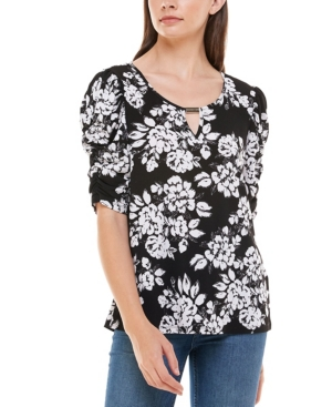 Women's Elbow Sleeve Top with Keyhole