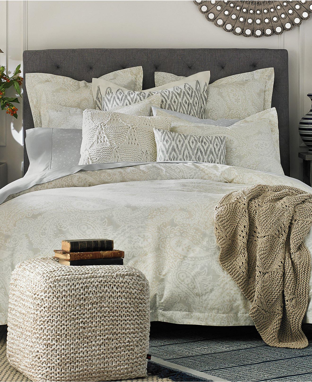 bedding collections  macy's - tommy hilfiger mission paisley bedding collection  thread count cotton