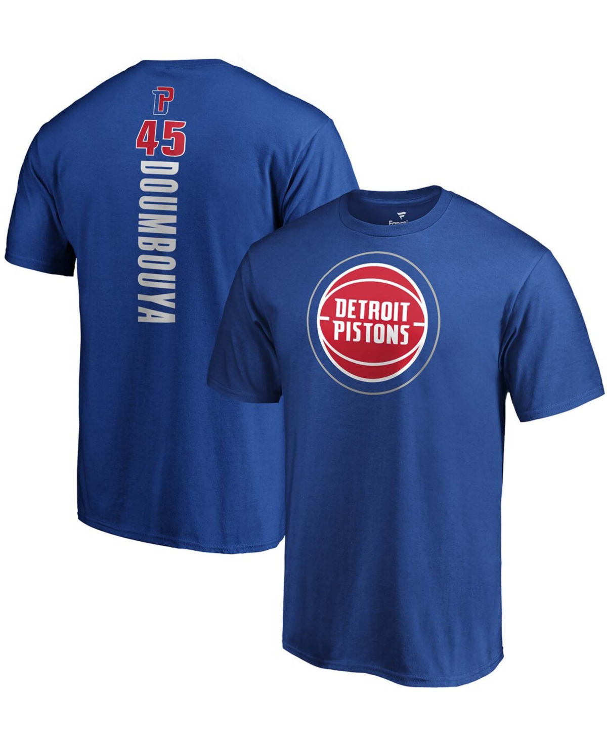 Men's Sekou Doumbouya Blue Detroit Pistons Playmaker Name and Number Logo T-shirt