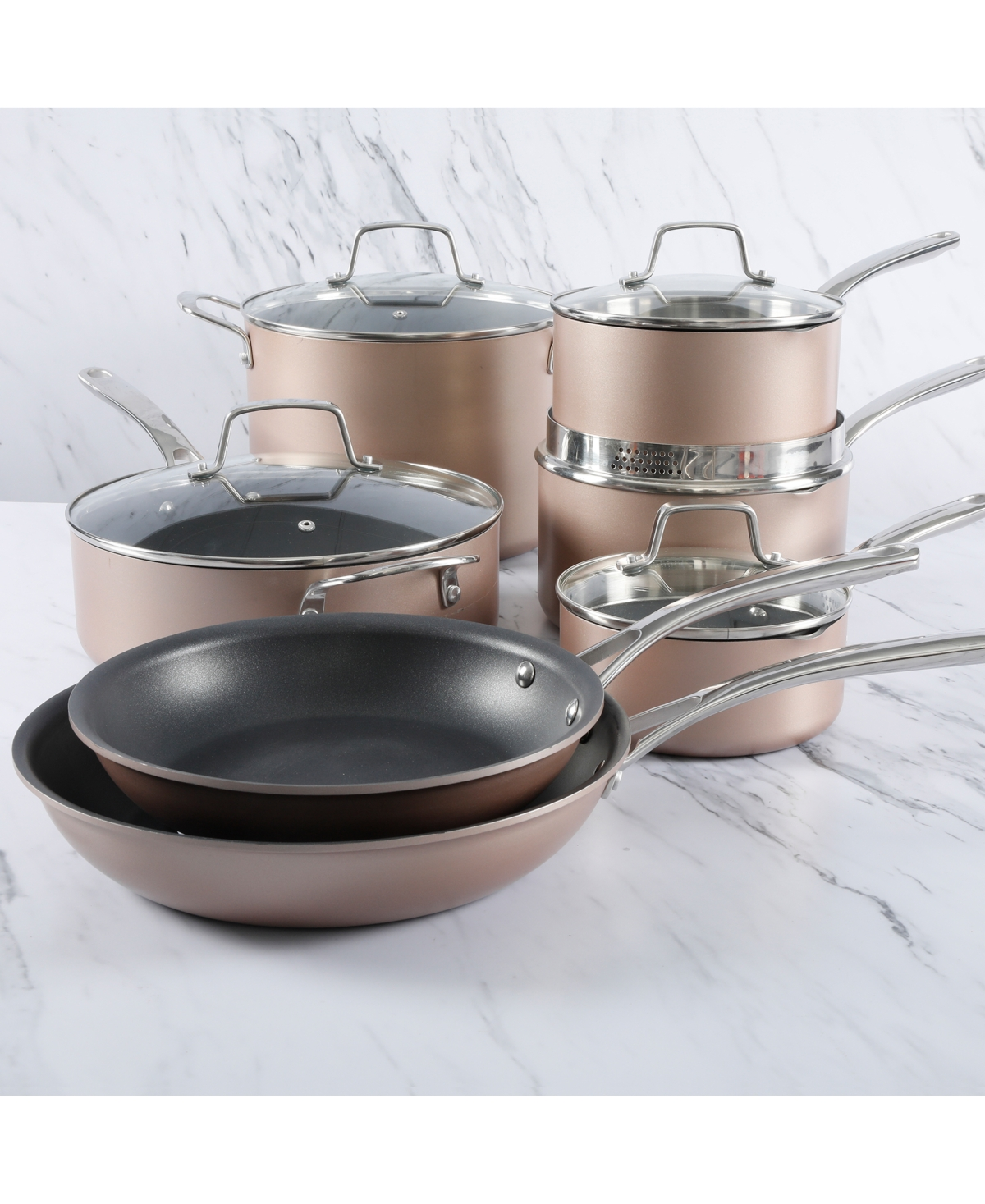 Martha Stewart Collection 12-Pc. Hard-Anodized Aluminum Cookware Set, Created for Macy's