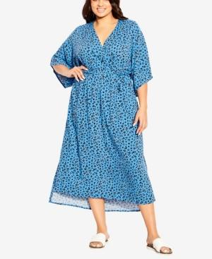 Plus Size Day Date Print Maxi Dress