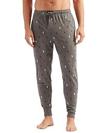 Men's Allover Pony Player Knit Jogger Pajama Pants