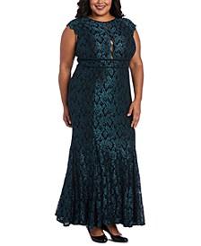 Plus Size Glitter Lace Gown