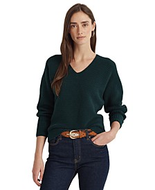 Deep V-Neck Combed Cotton Sweater