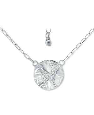 Cubic Zirconia Butterfly Disc Pendant Necklace