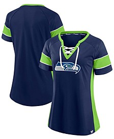 Fanatics Branded Women's College Seattle Seahawks Team Draft Me Lace-Up Raglan T-Shirt