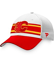 Branded Men's White/Red Calgary Flames 2021 NHL Draft Authentic Pro On Stage Trucker Snapback Hat