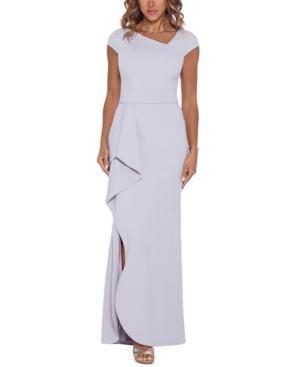 Asymmetrical-Neck Ruffled Gown