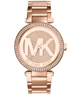 Michael Kors Women\u0026#39;s Parker Rose Gold-Tone Stainless Steel Bracelet Watch 39mm MK5865
