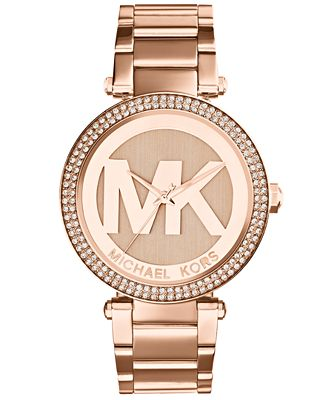 michael kors womens parker rose goldtone stainless steel