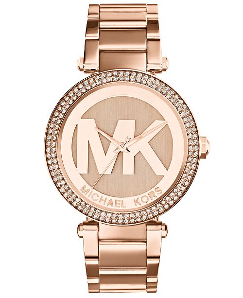 24f0bf58baa4 Michael Kors Women s Parker Rose Gold-Tone Stainless Steel Bracelet Watch  39mm MK5865 ...