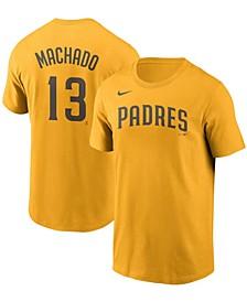 Men's Manny Machado Gold San Diego Padres Name Number T-shirt