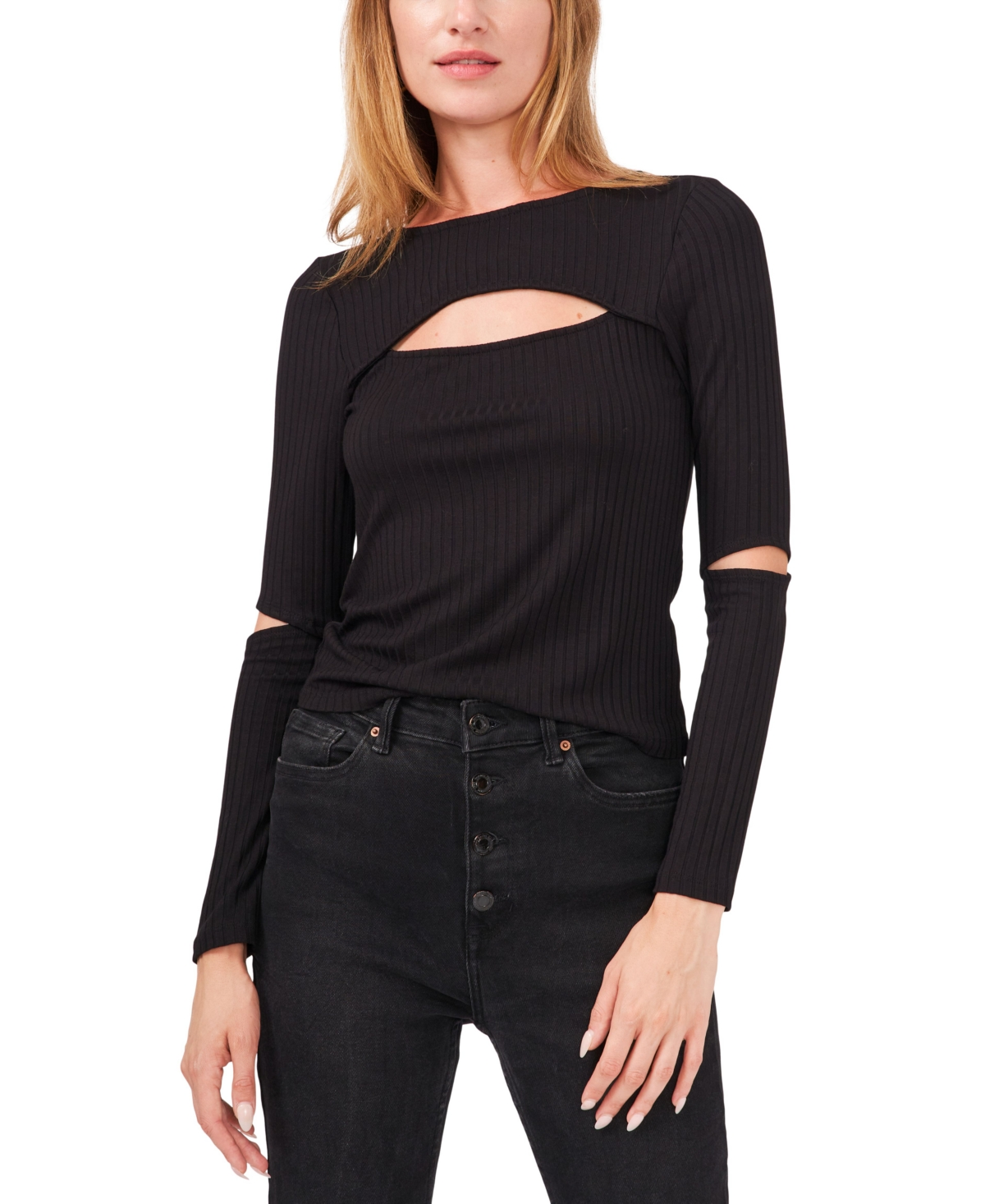 1.state Cropped Knit Cut-Out Top