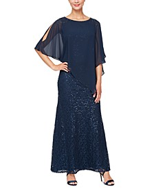 Chiffon-Overlay Sequin Lace Gown