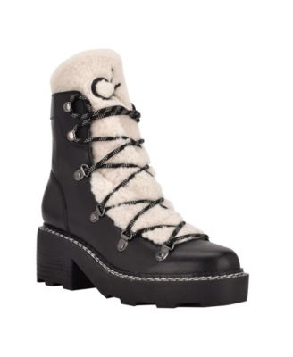 Women's Alaina Heeled Lace Up Cozy Lug Sole Winter Cold Weather Boots