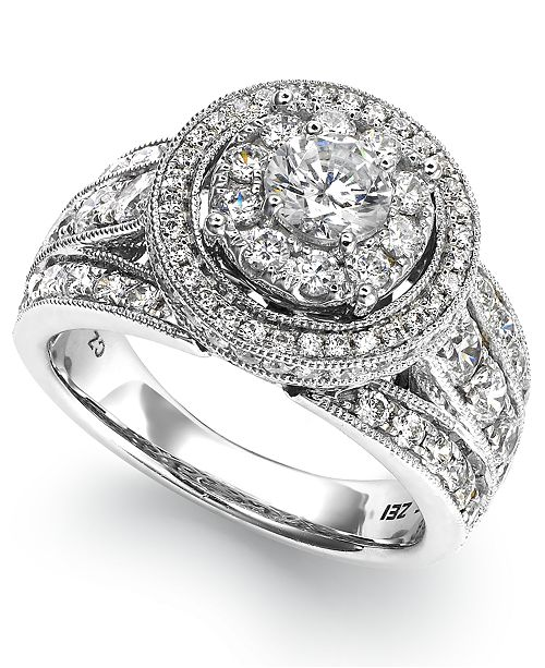 Macy's Diamond Round Engagement Ring in 14k White Gold (2-1/2 ct. t.w.)