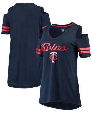 Women's Navy Minnesota Twins Extra Inning Cold Shoulder T-shirt