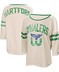 Women's Oatmeal Hartford Whalers Highlight 3/4 Sleeve T-shirt