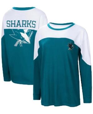 Women's Teal San Jose Sharks Pop Fly Long Sleeve T-shirt