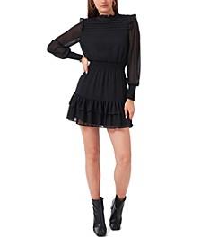 Long Sleeve Smocked Waist Ruffle Hem Dress