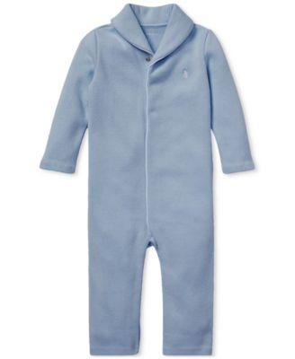 폴로 랄프로렌 Polo Ralph Lauren Baby Boys French-Rib Cotton Coverall,Campus Blue
