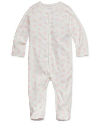 폴로 랄프로렌 Polo Ralph Lauren Baby Girls Bear-Print Cotton Footed Coverall,Pink Multi