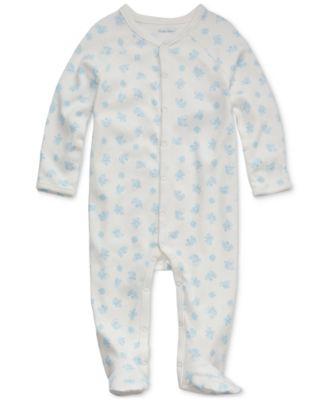 폴로 랄프로렌 Polo Ralph Lauren Baby Boys Bear-Print Cotton Footed Coverall,Blue Multi