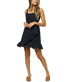 Juniors' Colinda Striped Faux-Wrap Sleeveless Dress