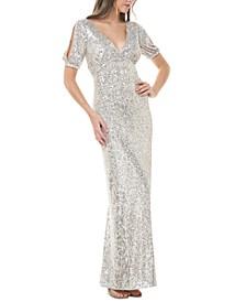 Embellished Split-Sleeve Gown